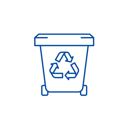Garbage storage line concept icon. Garbage storage flat  vector website sign, outline symbol, illustration.
