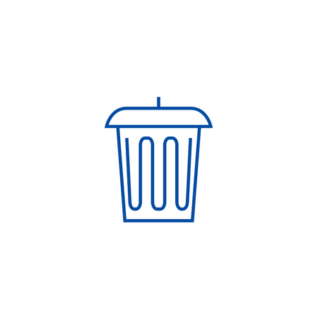 Garbage, office bin line concept icon. Garbage, office bin flat  vector website sign, outline symbol, illustration. Illustration