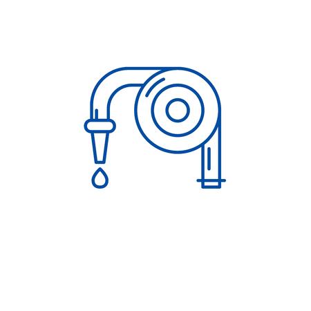 Garden hose line concept icon. Garden hose flat  vector website sign, outline symbol, illustration.