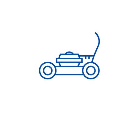 Garten Rasenmäher Symbol Leitung Konzept. Garten Rasenmäher flaches Vektor-Website-Zeichen, Umrisssymbol, Illustration. Vektorgrafik