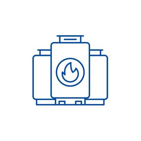 Gas boiler line concept icon. Gas boiler flat vector website sign, outline symbol, illustration. Vektorgrafik