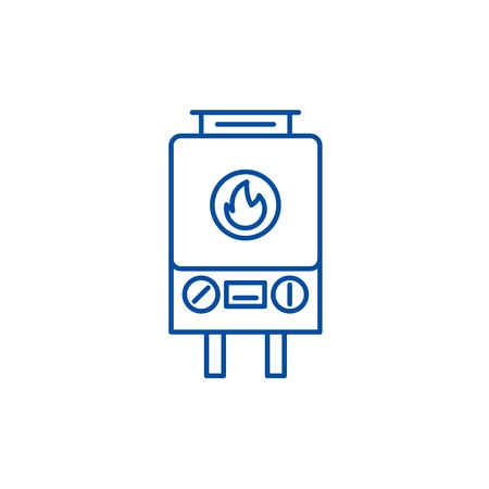 Gas heating line concept icon. Gas heating flat vector website sign, outline symbol, illustration.