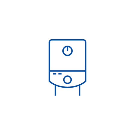 Gas tank, water boiler line concept icon. Gas tank, water boiler flat  vector website sign, outline symbol, illustration.