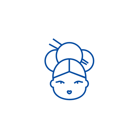 Geisha line concept icon. Geisha flat  vector website sign, outline symbol, illustration. Иллюстрация