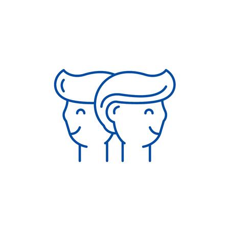Gemini zodiac sign line concept icon. Gemini zodiac sign flat  vector website sign, outline symbol, illustration. Illustration