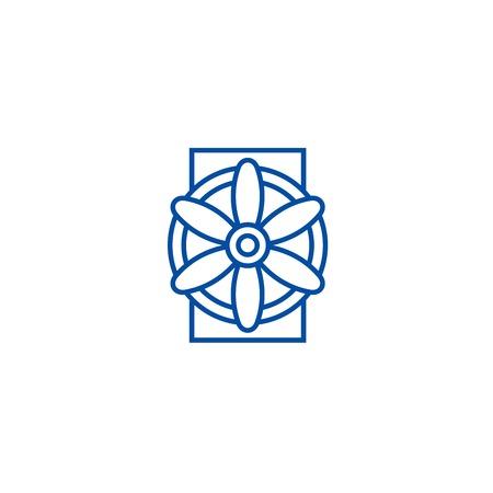 Generator line concept icon. Generator flat  vector website sign, outline symbol, illustration.