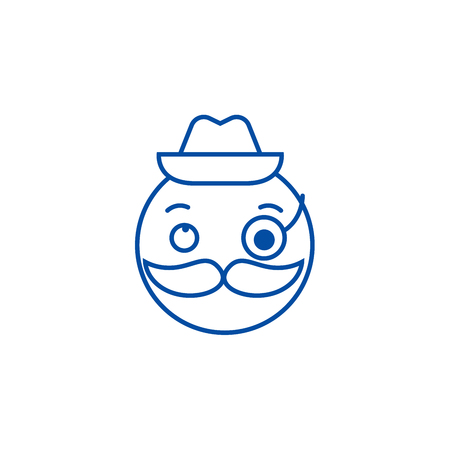 Gentlemen emoji line concept icon. Gentlemen emoji flat  vector website sign, outline symbol, illustration.