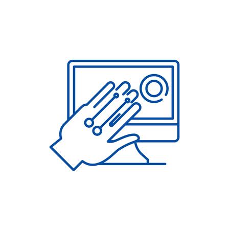 Gesture recognition system line concept icon. Gesture recognition system flat  vector website sign, outline symbol, illustration.