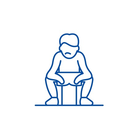 Get tired line concept icon. Get tired flat  vector website sign, outline symbol, illustration.