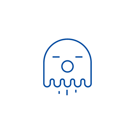 Ghost line concept icon. Ghost flat  vector website sign, outline symbol, illustration.