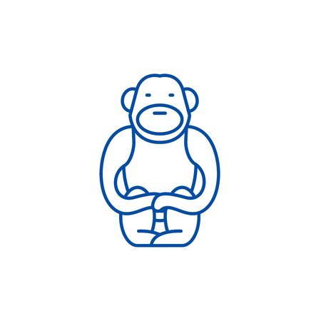 Gibbon line concept icon. Gibbon flat  vector website sign, outline symbol, illustration.