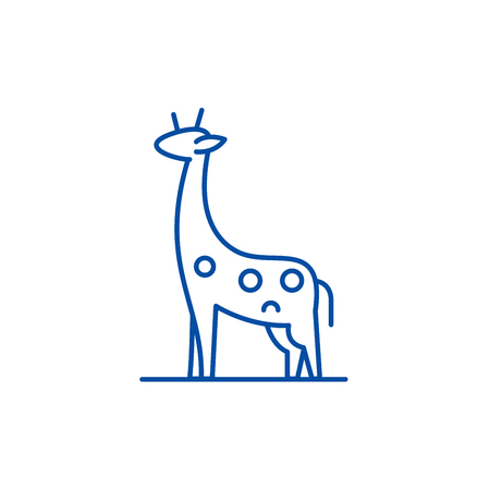 Giraffe line concept icon. Giraffe flat  vector website sign, outline symbol, illustration. Illustration