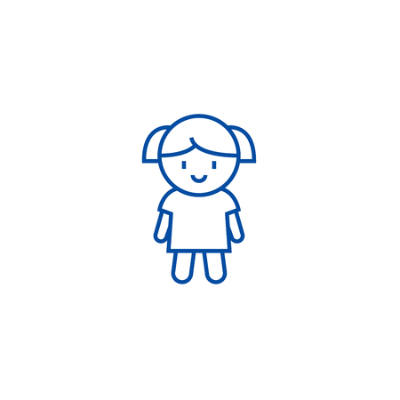 Girl doll line concept icon. Girl doll flat  vector website sign, outline symbol, illustration.