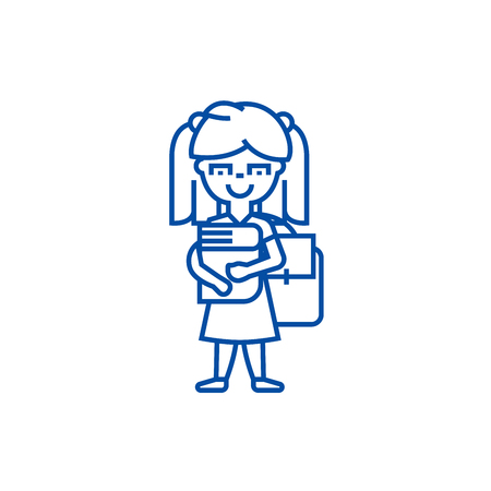 Girl in school with book and backpack line concept icon. Girl in school with book and backpack flat  vector website sign, outline symbol, illustration.