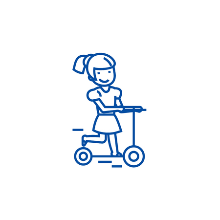 Girl on a scooter line concept icon. Girl on a scooter flat vector website sign, outline symbol, illustration.