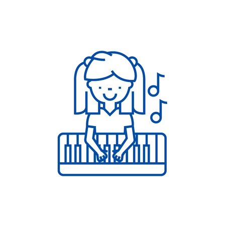 Girl playing on piano line concept icon. Girl playing on piano flat  vector website sign, outline symbol, illustration.