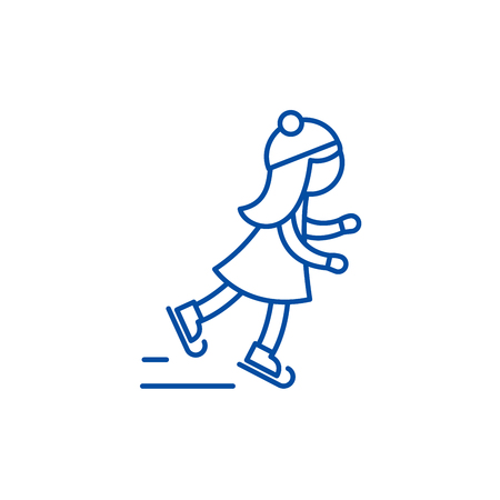 Girl skating line concept icon. Girl skating flat  vector website sign, outline symbol, illustration. Иллюстрация