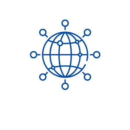 Global connection line concept icon. Global connection flat vector website sign, outline symbol, illustration.