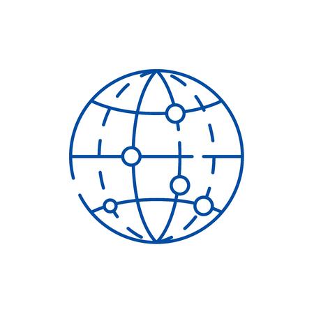 Global data encryption line concept icon. Global data encryption flat  vector website sign, outline symbol, illustration. Illustration