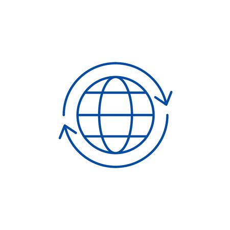 Global logistics line concept icon. Global logistics flat  vector website sign, outline symbol, illustration.