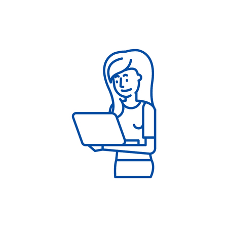 Girl with laptop line concept icon. Girl with laptop flat  vector website sign, outline symbol, illustration.