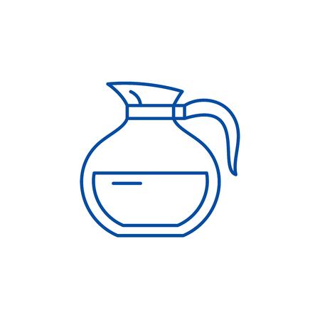 Glass teapot line concept icon. Glass teapot flat  vector website sign, outline symbol, illustration.