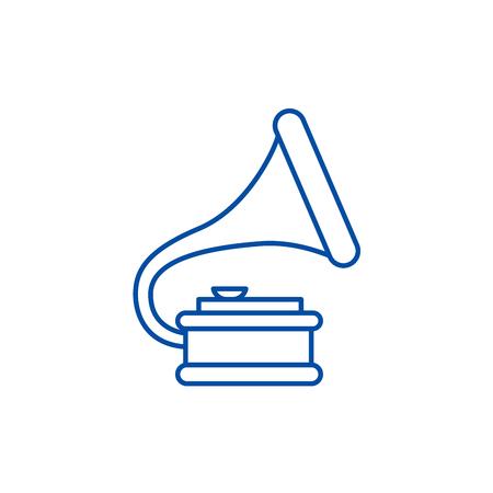 Gramophone illustration line concept icon. Gramophone illustration flat  vector website sign, outline symbol, illustration.