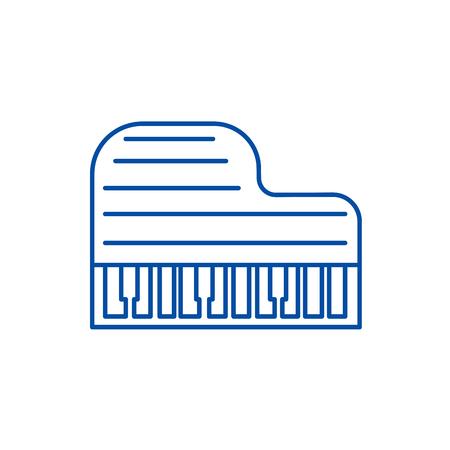 Grand piano  line concept icon. Grand piano  flat  vector website sign, outline symbol, illustration.