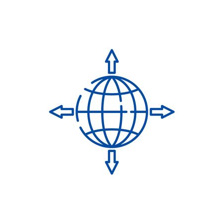 Global sales channels line concept icon. Global sales channels flat vector website sign, outline symbol, illustration. Vektoros illusztráció