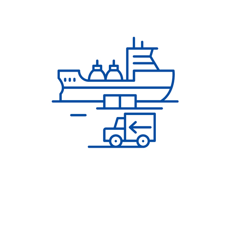 Global shipping line concept icon. Global shipping flat  vector website sign, outline symbol, illustration. Archivio Fotografico - 119986832