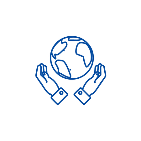 Globalization in hands line concept icon. Globalization in hands flat  vector website sign, outline symbol, illustration.