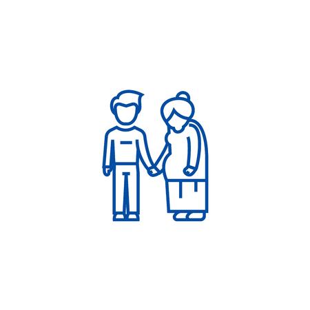 Grandmother care line concept icon. Grandmother care flat  vector website sign, outline symbol, illustration. Illustration