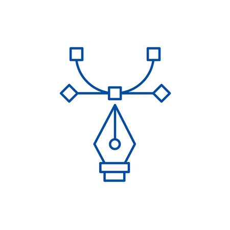 Graphic tool,curvature tool,art design line concept icon. Graphic tool,curvature tool,art design flat  vector website sign, outline symbol, illustration.