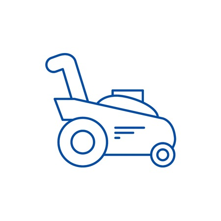 Grass cutter,gardening machine line concept icon. Grass cutter,gardening machine flat  vector website sign, outline symbol, illustration. Illustration