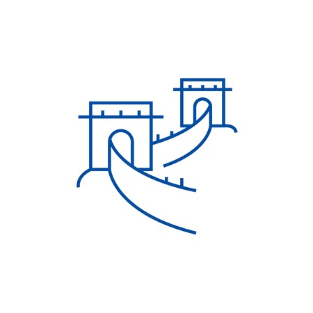 Great wall,china line concept icon. Great wall,china flat  vector website sign, outline symbol, illustration.