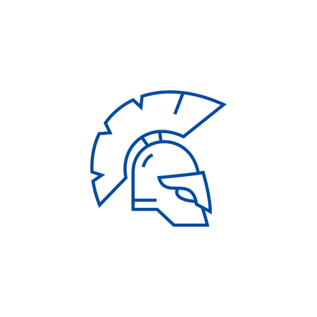Greece helmet line concept icon. Greece helmet flat  vector website sign, outline symbol, illustration. 向量圖像