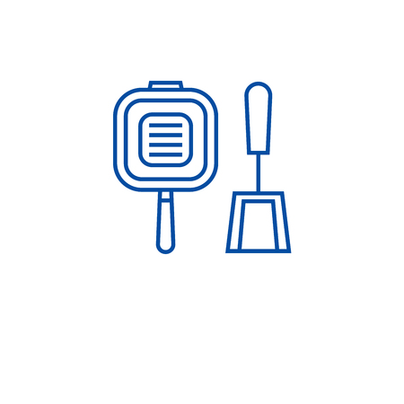 Grill pan line concept icon. Grill pan flat  vector website sign, outline symbol, illustration. Stock Illustratie