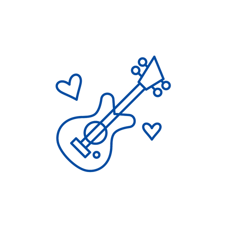 Guitar music line concept icon. Guitar music flat  vector website sign, outline symbol, illustration. Banque d'images - 119986986