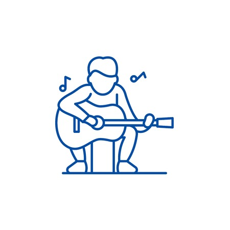 Guitar player line concept icon. Guitar player flat  vector website sign, outline symbol, illustration.  イラスト・ベクター素材