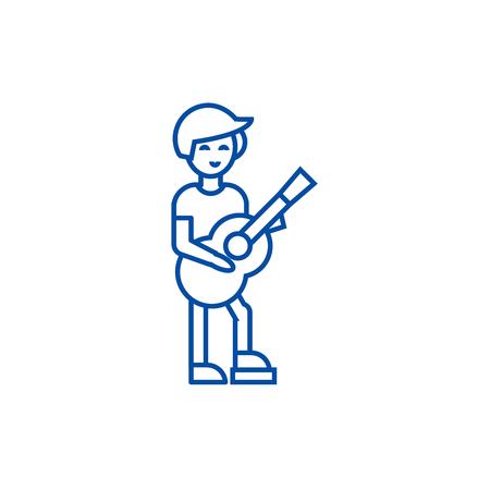 Guitar player,flamenco line concept icon. Guitar player,flamenco flat  vector website sign, outline symbol, illustration.