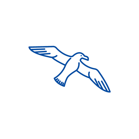 Gull,seagull line concept icon. Gull,seagull flat  vector website sign, outline symbol, illustration. Banque d'images - 119986990