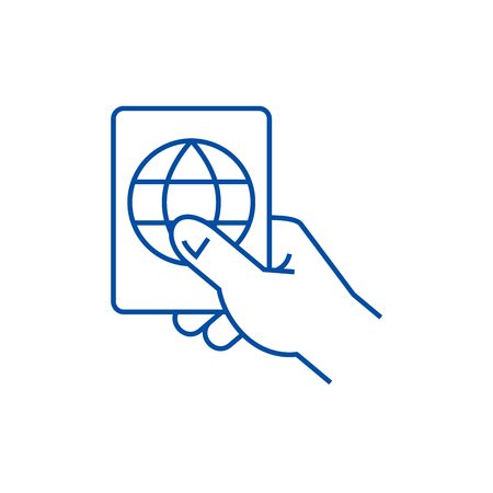 Hand holding passport line concept icon. Hand holding passport flat  vector website sign, outline symbol, illustration.