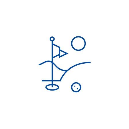 Golf field line concept icon. Golf field flat  vector website sign, outline symbol, illustration.