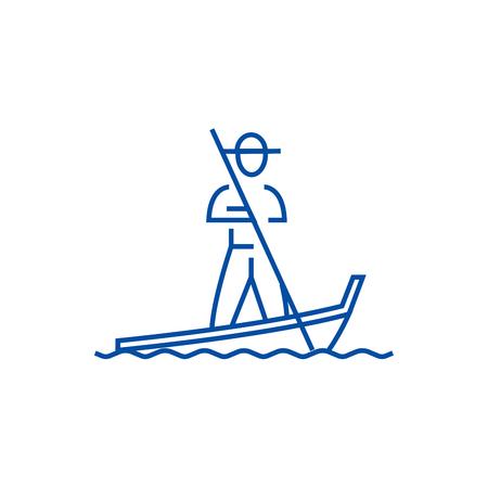 Gondola,venice line concept icon. Gondola,venice flat  vector website sign, outline symbol, illustration. Иллюстрация