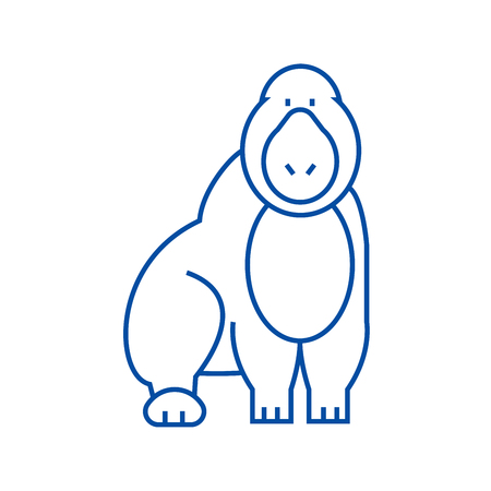 Gorilla line concept icon. Gorilla flat  vector website sign, outline symbol, illustration. Stock Illustratie
