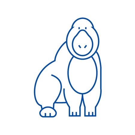 Gorilla line concept icon. Gorilla flat  vector website sign, outline symbol, illustration. Illustration