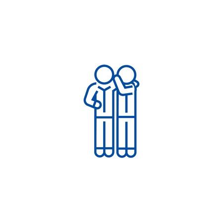 Gossip line concept icon. Gossip flat  vector website sign, outline symbol, illustration.