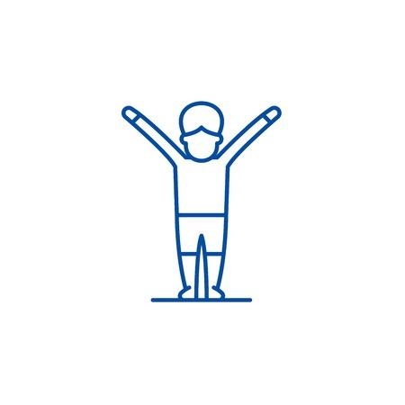 Gymnastics line concept icon. Gymnastics flat  vector website sign, outline symbol, illustration.