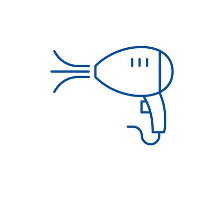 Hair dryer line concept icon. Hair dryer flat  vector website sign, outline symbol, illustration.