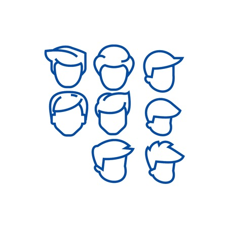 Hairs men avatars line concept icon. Hairs men avatars flat  vector website sign, outline symbol, illustration. Banque d'images - 119987149
